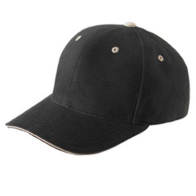 Adult Brushed Cotton Twill 6-Panel Mid-Profile Sandwich Cap Thumbnail