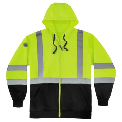 GloWear® 8372 Class 3 Zip-Up Hi-Vis Hooded Sweatshirt - Black Front Thumbnail